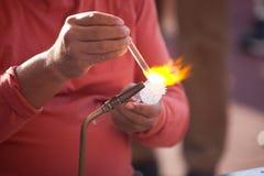 Glass making process - lampwork Royalty Free Stock Photography