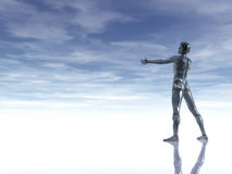 Glass man. Man figure with open arms under cloudy blue sky - 3d illustration Stock Images