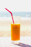 Glass with mango juice Stock Photo