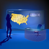 Glass Map of United States Stock Photo
