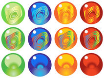 Glass marbels. Illustration of a set of colorful glass marbles Stock Photos