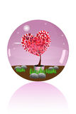 Glass marble of love tree Royalty Free Stock Images