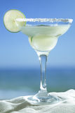 Glass of Margarita coctail. Margarita served with slice of lime and salt on the glass rim Royalty Free Stock Images