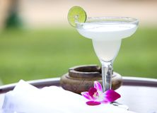 Glass of margarita with slice of lime Stock Photography