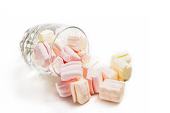 Glass and marshmallows Royalty Free Stock Image