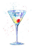 Glass of a Martini with cherry.Picture of a alcoholic drink. Watercolor hand drawn illustration Royalty Free Stock Images