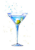 Glass of a Martini with olive. Royalty Free Stock Images