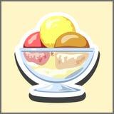 Glass med tre bollar av rosa färger, brunt och guling i en genomskinlig kopp Illustration i form av en klistermärke vektor illustrationer