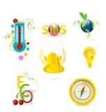 Glass medic and eco symbols set Royalty Free Stock Photos