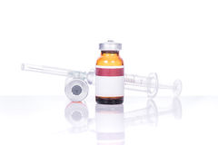 Glass Medicine Vials with botox, hualuronic, collagen or flu Syringe stock images