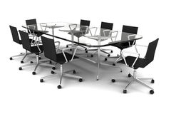 Glass meeting table with black chairs isolated Stock Photos