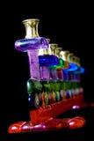 Glass menorah on black Stock Photography