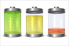 Glass and metal battery icon Stock Photography