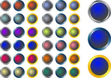 Glass metal buttons Royalty Free Stock Image