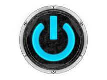 Glass and metal circle power symbol stock photography