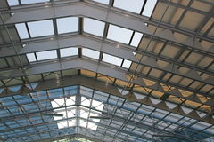 Glass and metal roof  of a modern building Royalty Free Stock Photos