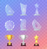 Glass and Metal Sport Trophies And Cups Vector Set Stock Images
