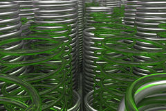 Glass and metal springs and coils Royalty Free Stock Images