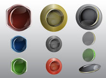 Glass and metallic buttons for web graphics. Colorful web buttons with reflections Stock Photo