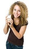 Glass of milk. A beautiful young women holding a glass of milk Royalty Free Stock Photo