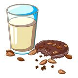 Glass milk almond cookie icon, cartoon style. Glass milk almond cookie icon. Cartoon of glass milk almond cookie vector icon for web design isolated on white vector illustration