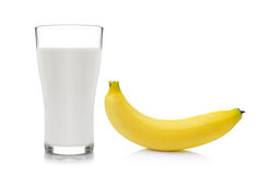 Glass of milk  with  banana over white background Stock Image
