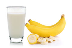 Glass of milk and banana  Stock Images