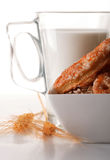 Glass of milk and biscuits Stock Photos