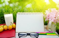 Glass of milk, blank page calendar, yellow fruit,sunglasses, pencils and pink flower on white wood table over green grass Stock Images