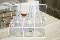 Glass milk bottles Stock Images