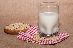 Glass of milk and bowl with soy Royalty Free Stock Photography