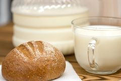 A glass of milk and bread with a bottle of milk royalty free stock images