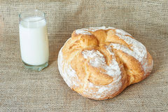 A glass of milk with bread Royalty Free Stock Image