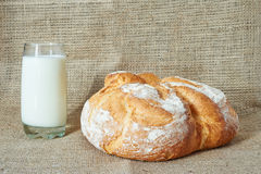 A glass of milk with bread Royalty Free Stock Photography