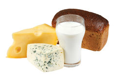 Glass of milk, bread and cheese Royalty Free Stock Photo
