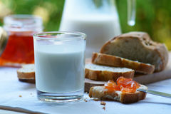 A glass of milk with bread and homemade apple jam Royalty Free Stock Photo