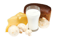 Glass of milk, bread, mushrooms and cheese Stock Photography