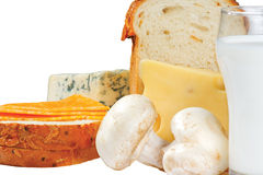 Glass of milk, bread, mushrooms and cheese Stock Image