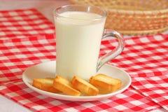 Glass of milk for breakfest Stock Images