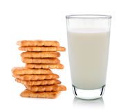 Glass of milk and butter biscuits Royalty Free Stock Photography