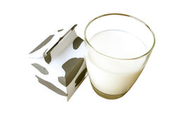 Glass of milk, a carton of milk Royalty Free Stock Photography