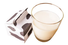 Glass of milk, a carton of milk  isolated Stock Image