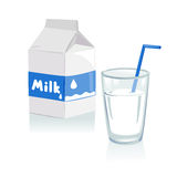 Glass of milk and a carton of milk Royalty Free Stock Photo