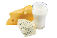 Glass of milk and cheese Royalty Free Stock Images