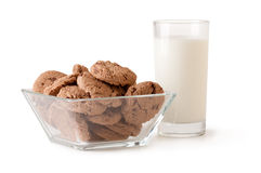 Glass of milk and chocolate chip cookie Royalty Free Stock Photo