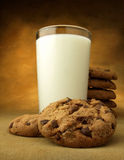 Glass of milk and chocolate chip cookies Stock Image