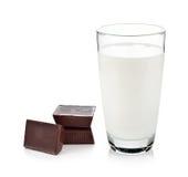 Glass of milk and chocolate Stock Photos