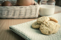 Glass of Milk and  Cookie Stock Photos