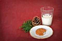 Glass of milk and cookie for Santa Claus Royalty Free Stock Image