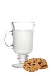 Glass Of Milk And Cookies Focus On Mug Royalty Free Stock Photography